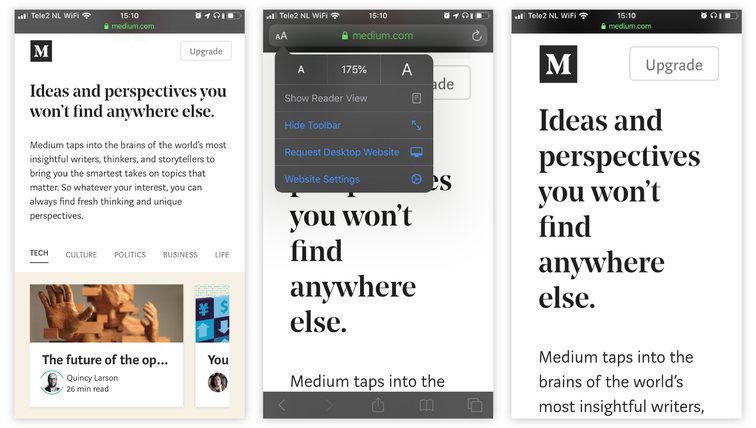 Example of Medium: since iOS13, Safari gives you quick access to text size controls